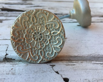 Drawer Knob, Floral Pattern Shabby Chic Knobs, Embossed French Country Look Round Cabinet Pulls, Item #505284823