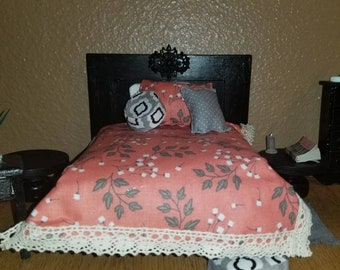 """Miniature Queen-sized Embellished Bed with Bedding and Mattress, Dresser, Side Tables and """"Used"""" Book"""