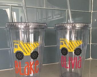 Party favor cups - dump trucks - construction