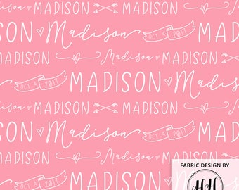 Girls Personalized Fabric / Custom Name Fabric / Newborn Baby / Child Name and Birthdate / Customized Fabric Print by the Yard & Fat Quarter