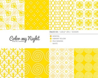 80% OFF SALE Digital Paper Yellow 'Pack03' Scrapbook Paper Pack Digital Backgrounds for Scrapbooking, Invites, Crafts...
