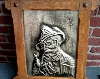 Metal-image, tin-relief, antique, motive old man with hat, solid, heavy, frame from oak, back labeled, 45cm x 55cm, Vintage