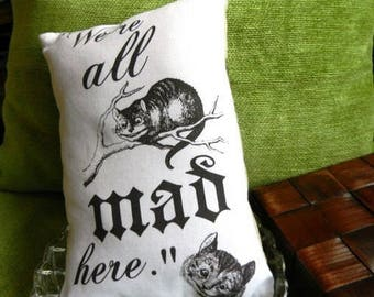 ALICE IN WONDERLAND Mad Cheshire Cat Lavender Pillow, literary pillow, Novelty pillow, cat pillow, book lover gift