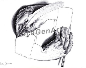 Drawing Hands (Escher) handmade Drawing, Drawing Hands Print, Digital Print, Art Print, Made in pencil, charcoal and ink, Realistic Drawing
