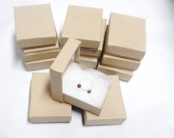 """Presentation Display Kraft Jewelry Boxes ( 2 1/8""""x1 5/8"""")  - lot of 50 Cotton Filled Gift Boxes"""