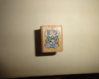 1993 Bunny stamp 1 in by 1 inch Vintage Wooden rubber stamp-wood stamp-wood mounted- vintage stamp-rubber stamp-stamping gift