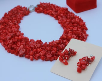 READY TO SHIP Valentine gift Necklace Red Coral Necklace Coral jewelry Red Necklace Special gift Necklace Luxurious Necklace romantic g