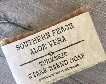 Aloe Vera Soap, Peach Soap, Turmeric, Shea butter, Coconut oil, Coco Butter, Olive oil, Vegan homemade soap,Essential oils
