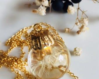 REAL DANDELION pendant, Dandelions seeds, Resin sphere ball pendant, Real dandelion Encased in Resin, resin jewellery, wish necklace, gift