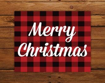 Buffalo Plaid Christmas Printable, Merry Christmas Wall Art Print, Rustic Christmas Decor, INSTANT DOWNLOAD