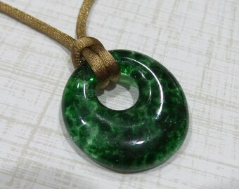 Small Green Pendant, Dark Forest Green Fused Glass Pendant, Donut Necklace, Fused Glass Jewelry, Ready to Ship  - Evergreen- -5