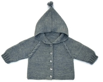 Baby hooded sweater knit baby sweater knit baby coat knit baby jacket wool baby jumper baby boy sweater baby boy cardigan baby cardigan gray