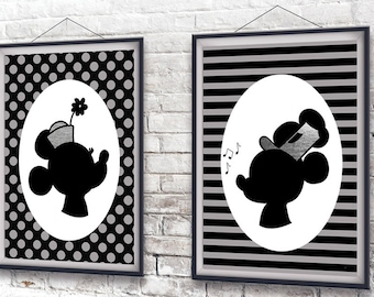Steamboat Willie and Minnie Mouse Printable Wall Art - DIY Disney Decor - Disney Fan Art -You Print Disney Home Decor - 8x10 - Instant DL