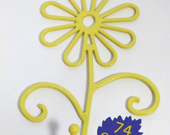 Flower Wall Hook Metal Shabby Chic Bright Yellow