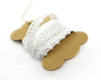 Adhesive white cotton lace