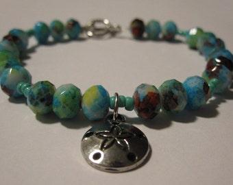 Handmade Teal Beaded Bangle/ Bracelet