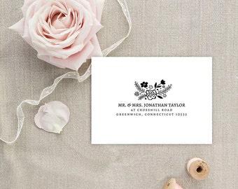 Envelope Template, Editable Printable Template, Printable Envelope, Floral Woodland Wedding Envelope | No. EDN 5057