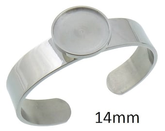 1 Pieces Stainless Steel 14mm Cabochon Bracelet Blank Setting