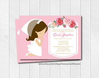 Girl First Holy Communion Invitations, First Communion Invitations, Printable Communion Invite or Digital