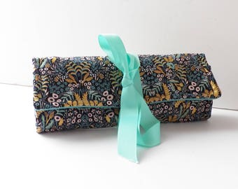 Jewelry Roll Travel Accessory Bridesmaid Gift Black Aqua with Metallic Gold Print Floral Monogram Personalization Available