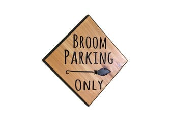 broom parking sign, halloween sign, witch sign, halloween decor