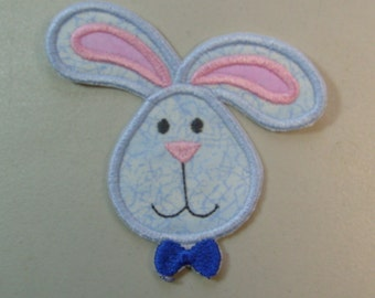 Bunny face iron on or sew on applique patch