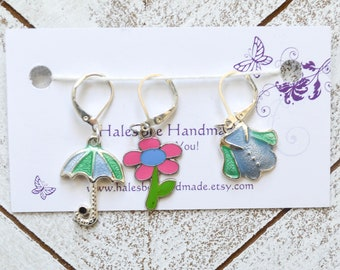 Rainy Day Knitting Progress Keepers Stitch Markers Summer Bright Knitting Crochet Sewing Notions Gift Ideas