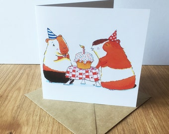 Guinea Pig Party - Large square greeting card for birthday, boys and girls