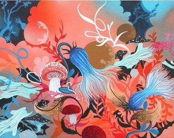 "8"" x 10"" MATTED Mushroom Fine Contemporary Art Nature Print Fungii"