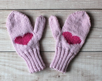 handknit pink mittens, children's mittens, mittens with heart, winter mittens, kids winter gloves, choose your color