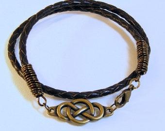 Men's Leather Infinity Bracelet