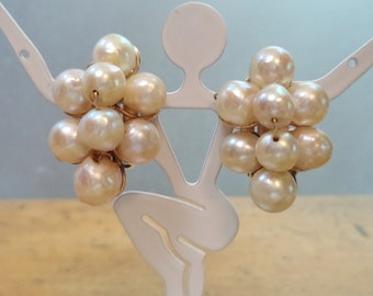 Vintage 14K Gold GF Genuine Pearl Cluster Clip On Earrings