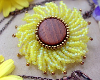 Sunflower Pendant, Beaded Yellow Flower Necklace for Spring or Summer, Happy Birthday Gift for Mom, 3rd Year Wedding Anniversary Present