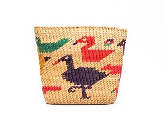 VINTAGE: South American Hand Coiled Woven Basket  - Woven Basket - Bird Basket - SKU 27-A-00011425