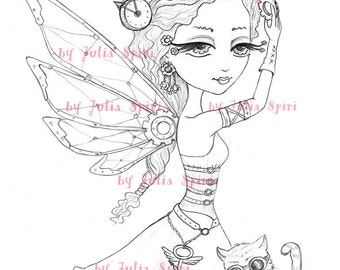 Digital stamps, Steampunk Digi, Metal, Gear, Iron, Fairy, Mechanic, Cat, Craft, Coloring pages, Paper crafting Cardmaking. Steampunk Fairy