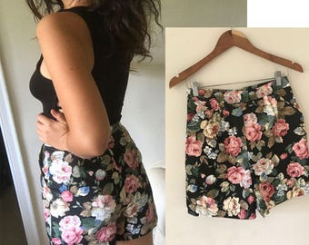 Black Floral Denim Shorts Retro High Waisted  Handmade with Vintage 80s Fabric and a Vintage 80s Pattern size Small to Medium