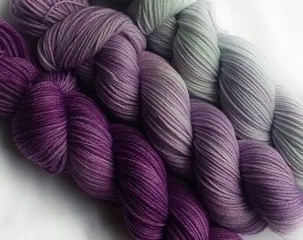Hand dyed yarn, Daisy, 100% super wash merino wool yarn, sport weight yarn, purple gradient set,tonal yarn, gradient yarn