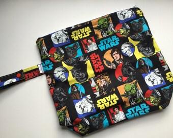 Wet /Dry Bag with Snap Handle - Waterproof Zipper Bag in Retro Star Wars, Hans Solo