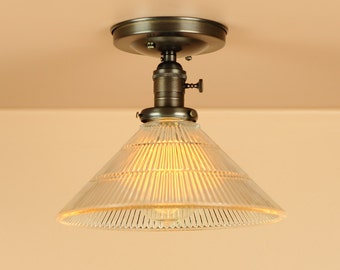 semi flush lighting w holophane style glass shade hand