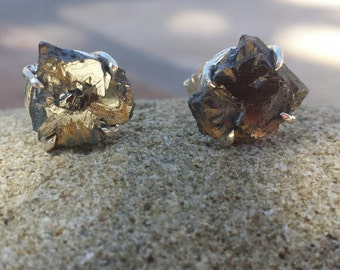 One of a kind hematite with rutilated quartz pyrite sterling silver stud earrings