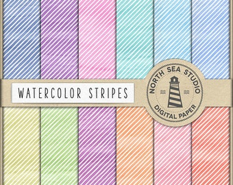 WATERCOLOR STRIPES, Digital Paper, Watercolor Striped Backgrounds, Watercolour Stripe Paper, Watercolor Stripe Effect, Coupon Code: BUY5FOR8