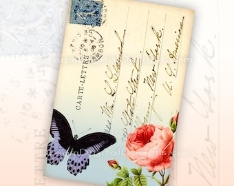 Printable Gift Tags, Butterfly and Rose Vintage Postcard front, Ephemera Download