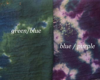 SALE! Hand Dyed Harem Cloth, 24x62, Scarves, Fiber Crafts, 100% Cotton, Green/Blue or Blue/Purple