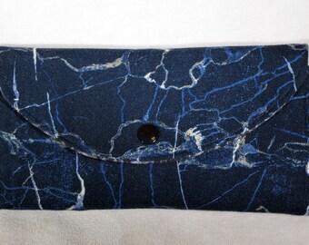 Navy Blue Wallet, Vegan, Women's Wallet, Fabric Wallet, Tri-fold Wallet, Clutch