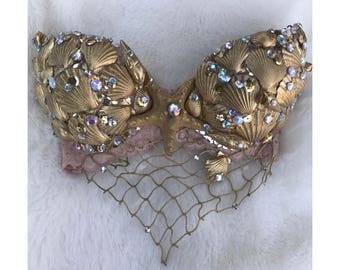 Gold mermaid bra