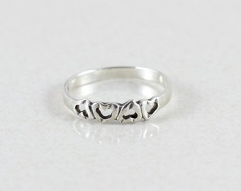 Sterling Silver Heart Band size 8 3/4