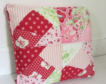 Girl's cushion pink Tilda floral stripes paisley green quilted, including cushion insert
