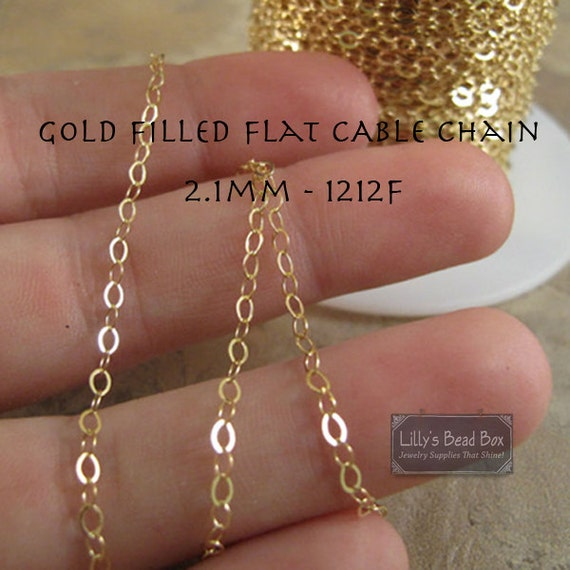 Gold Cable Chain, 2 Feet Gold Filled Flattened 2.1mm Cable Chain for Making Jewelry, Beautiful Flattened Cable Chain (1212f)