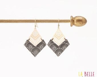 Resin chevron pattern Japanese black diamond earrings