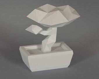 Printable DIY template (PDF). Bonsai tree low poly paper model. 3D paper Bonsai tree. Origami.